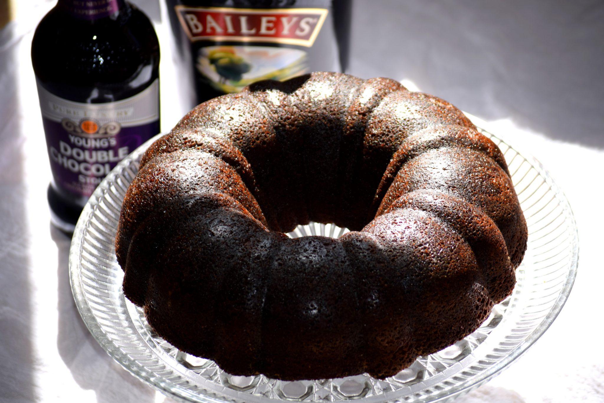 Double Chocolate Stout Bundt Cake with Bailey's Irish Creme Caramel Sauce