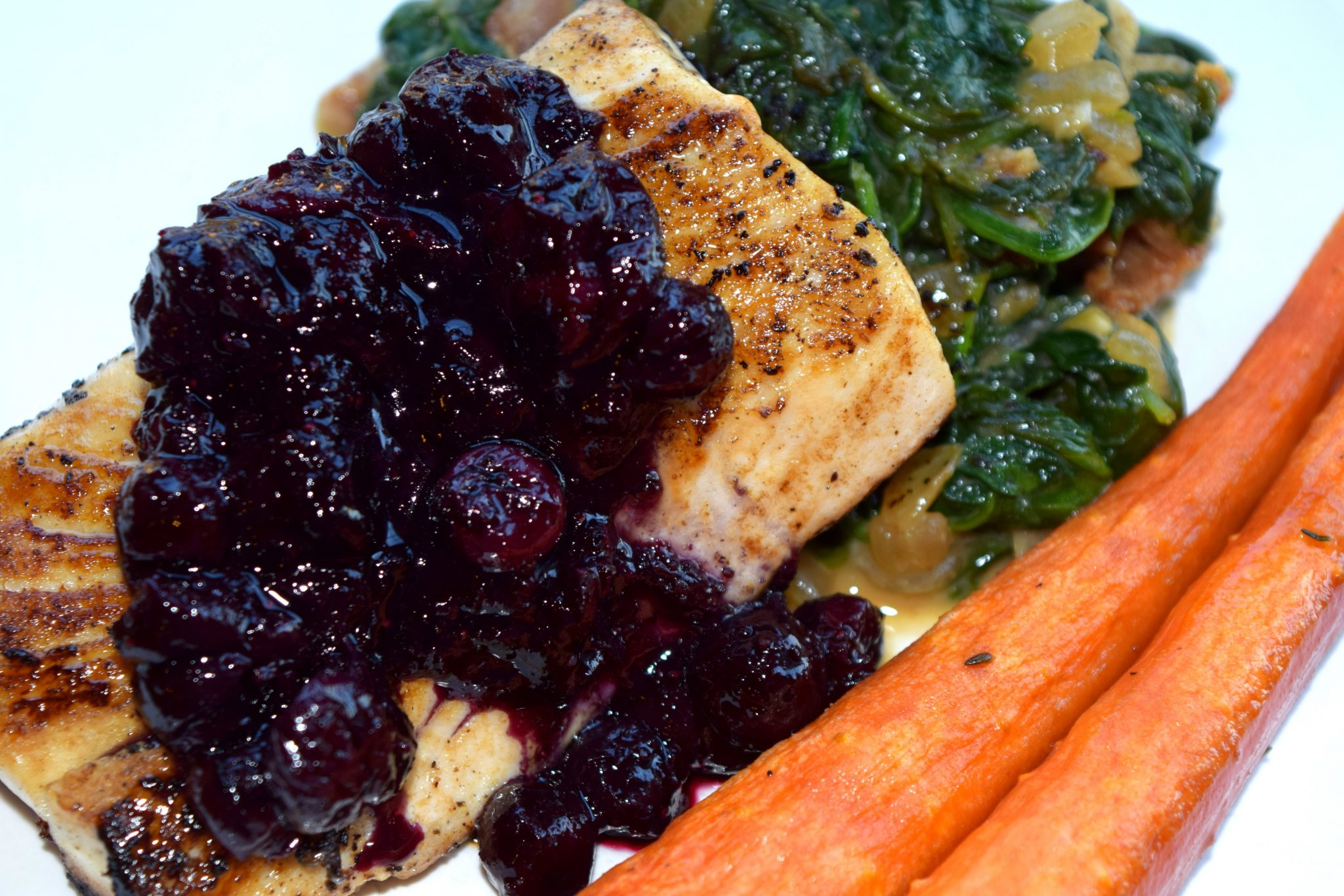 Pan Seared Mahi Mahi with Blueberry Sauce and Whipped Goat Cheese and Nutmeg Creamed Spinach