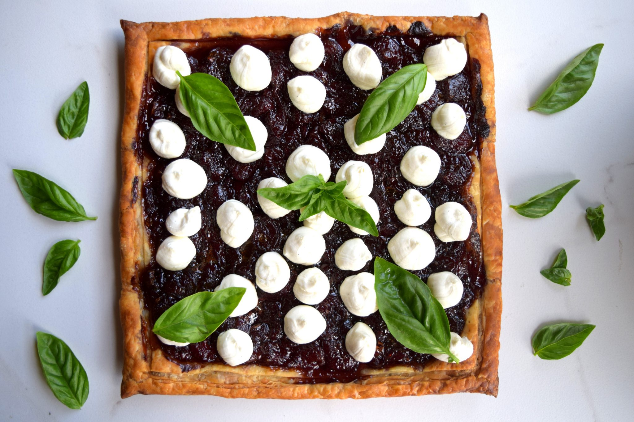 Chocolate Stout Cherry Tart with Honey and Vanilla Goat Cheese
