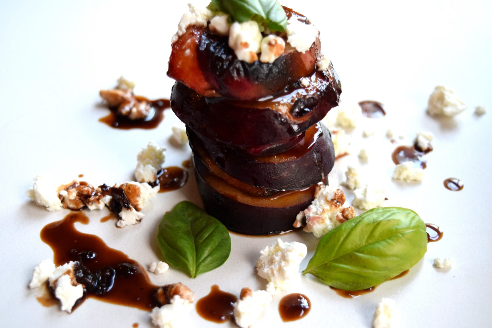 Grilled Plum and Peach Stack with Goat Cheese and Balsamic Fig Reduction