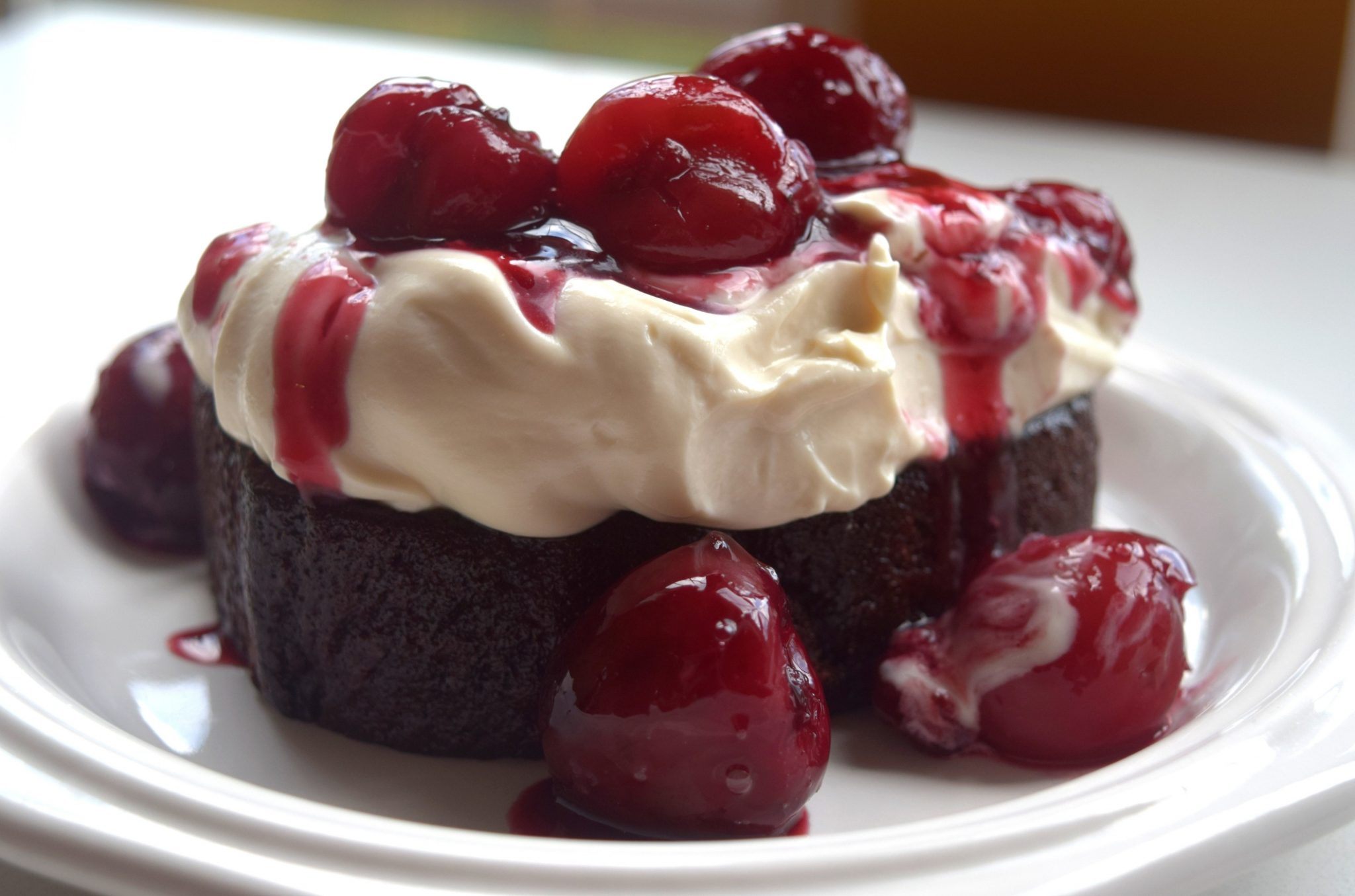 Peach Ale Cherries on Chocolate Pound Cake with Chocolate Stout Whipped Mascapone