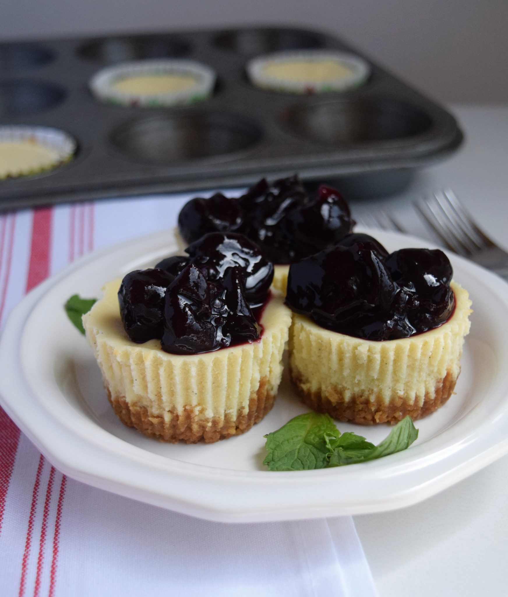 Mini Cherry Goat Cheesecakes