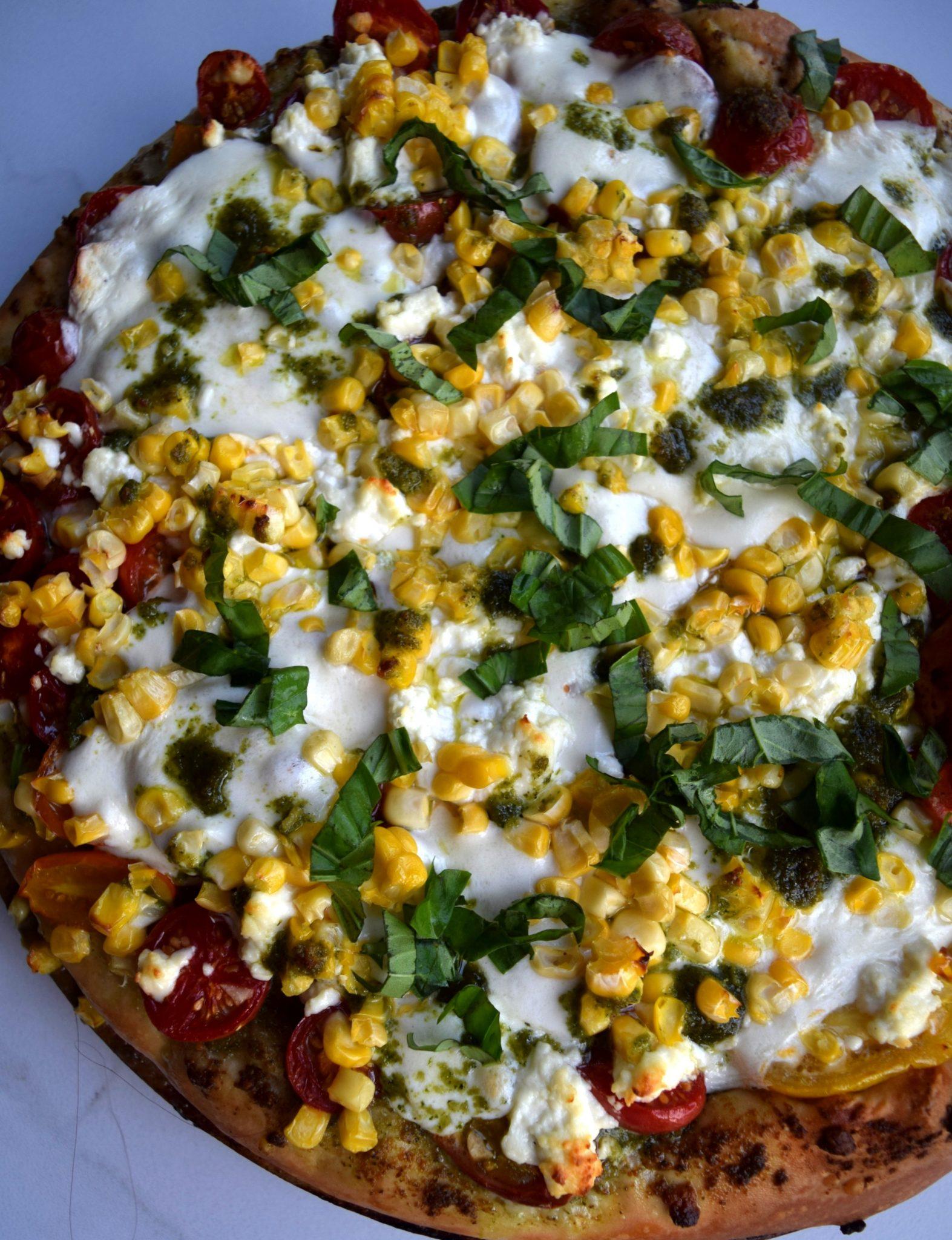 Pesto And Cherry Tomato Pizza Recipe — Dishmaps