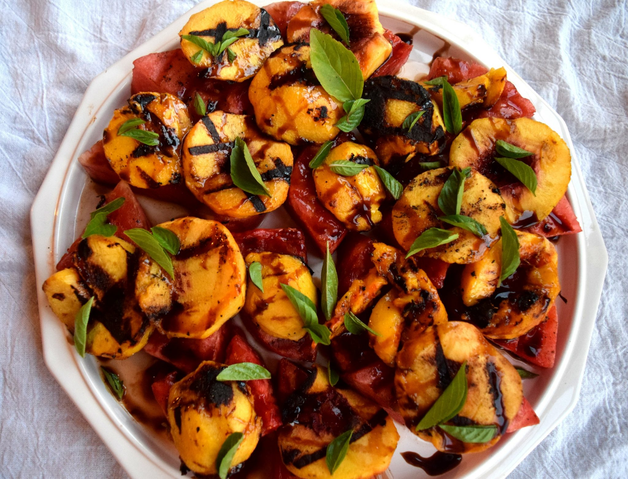 Grilled Peaches and Watermelon