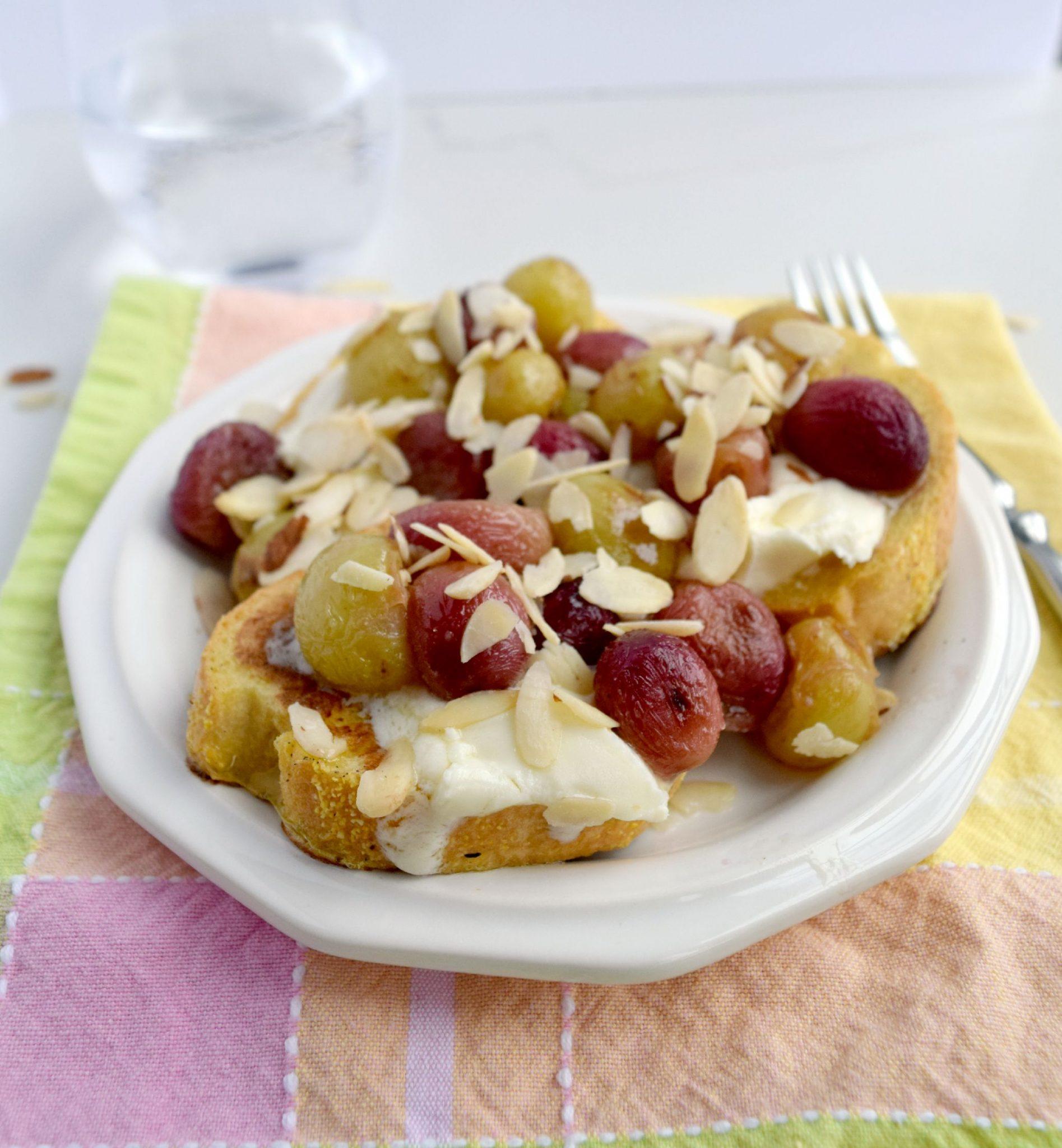 Honey Roasted Grape Mascarpone French Toast Crostini