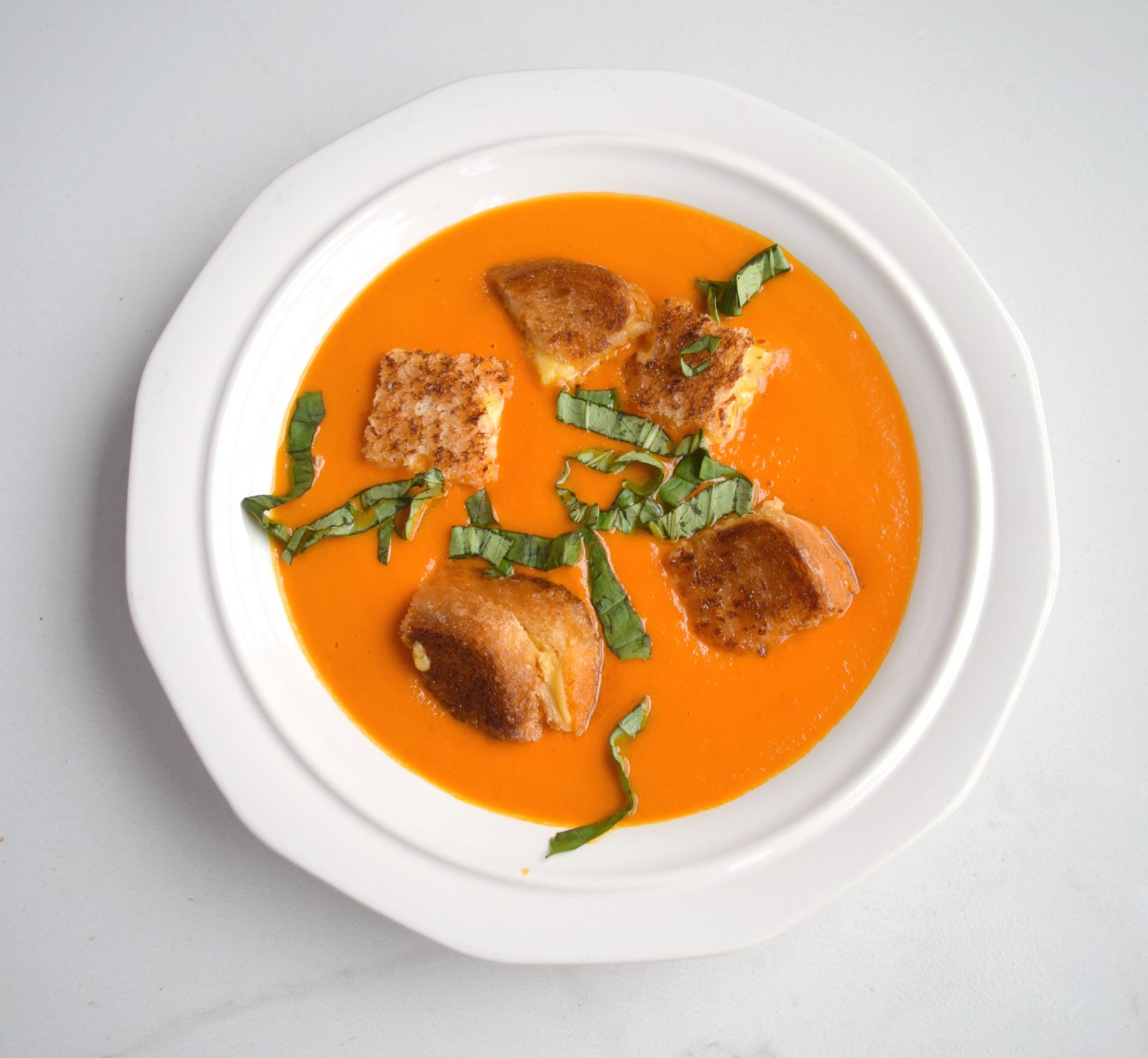 Roasted Tomato and Mascarpone Soup with Grilled Cheese Croutons