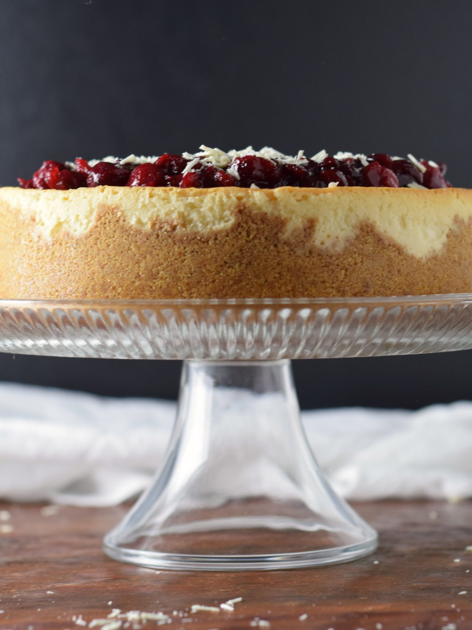 White Chocolate Cheesecake with Cranberry Topping