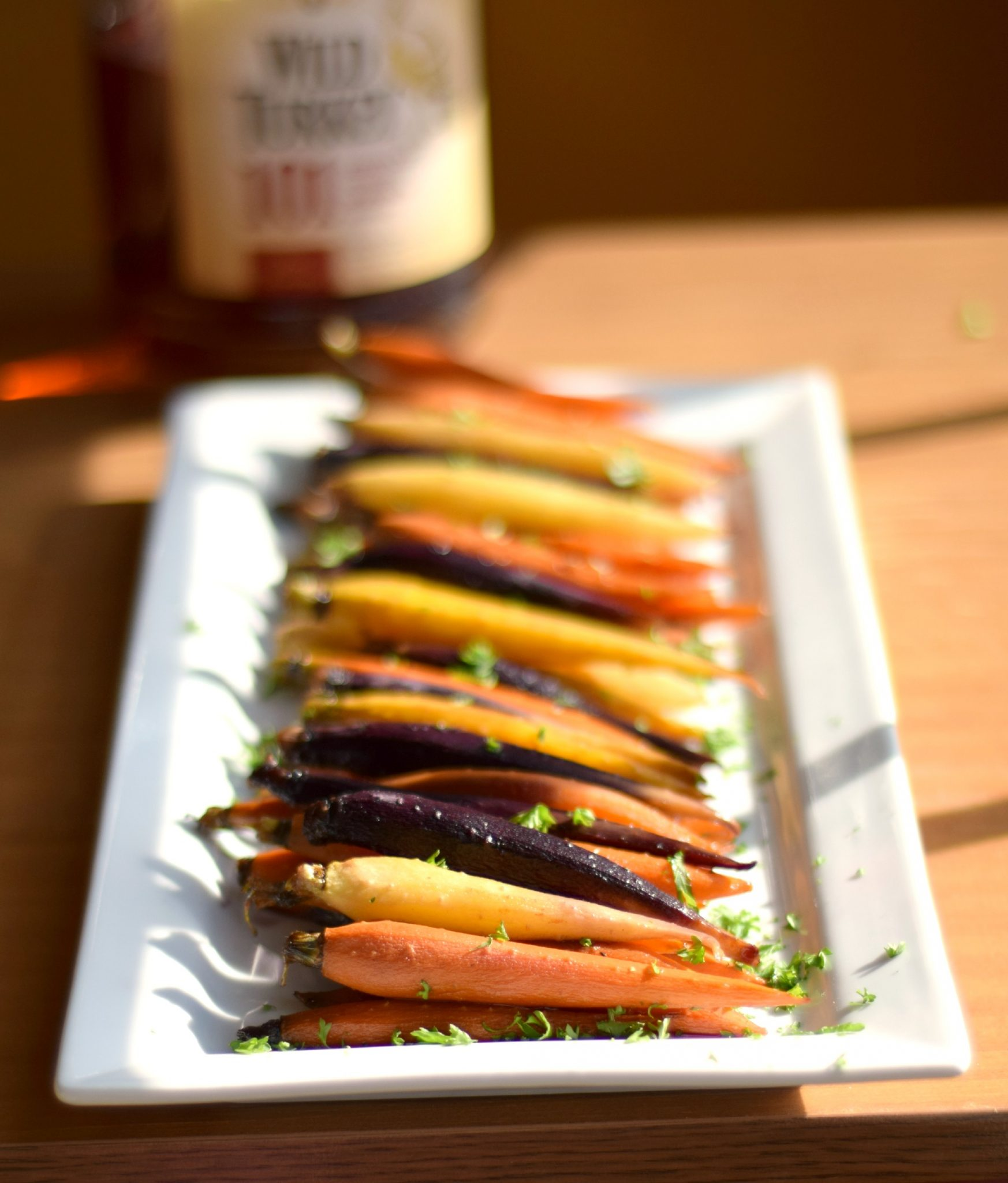 Bourbon, Maple, and Brown Sugar Roasted Baby Rainbow Carrots