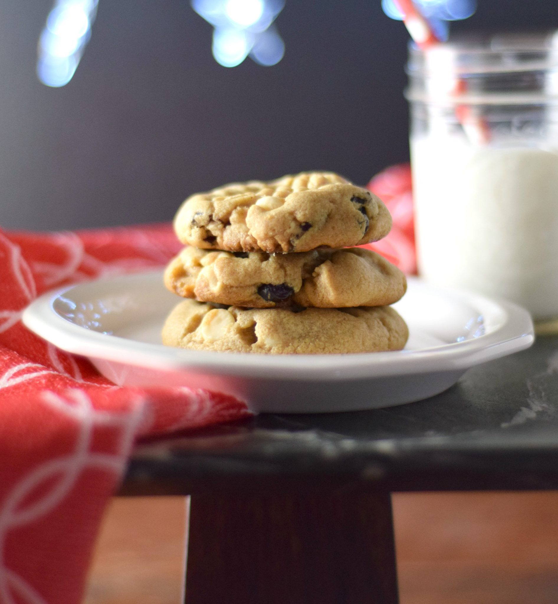 Peanut Butter, White Chocolate, and Cranberry Cookies