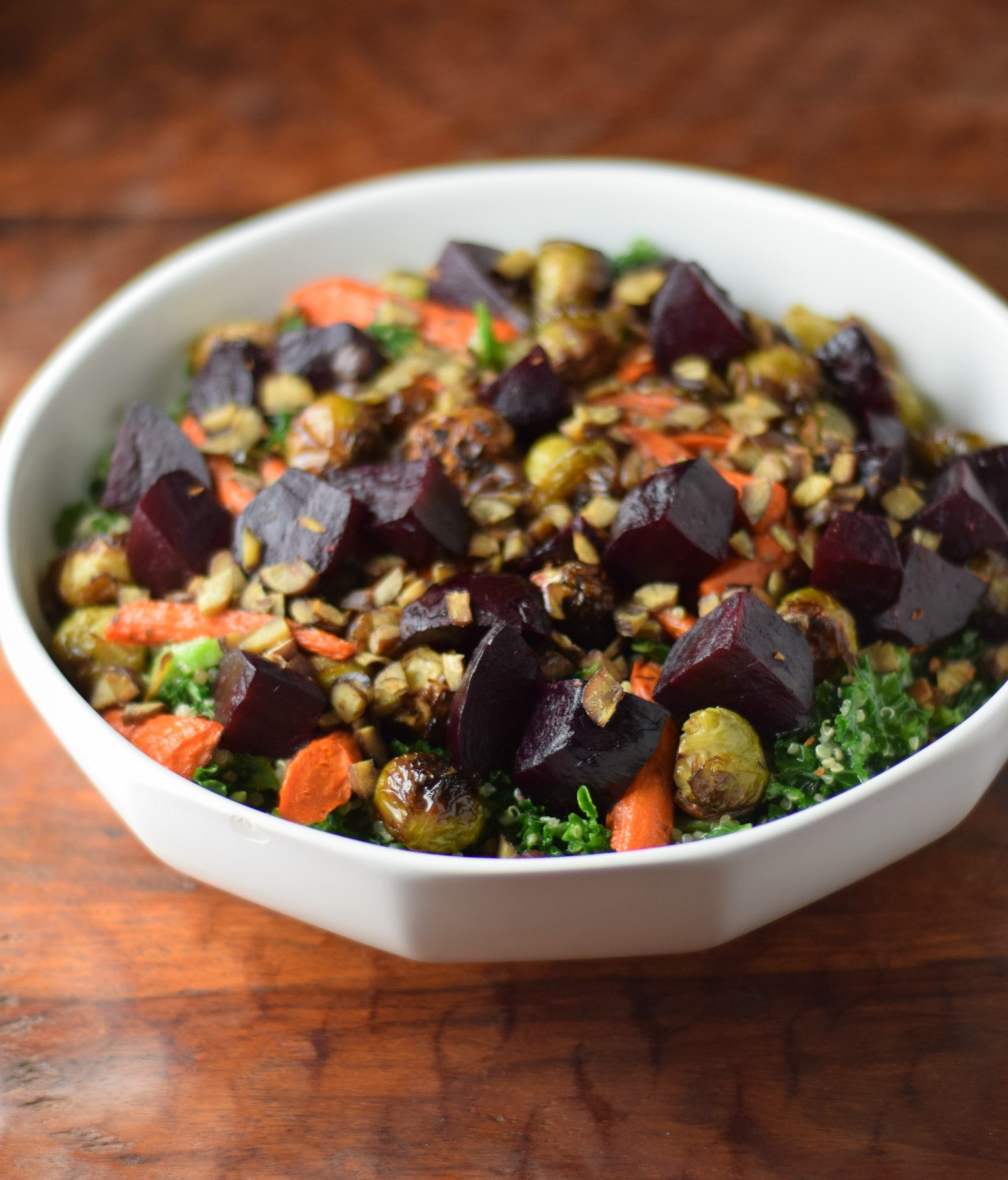 Roasted Vegetable, Kale, and Quinoa Salad with Clementine Vinaigrette