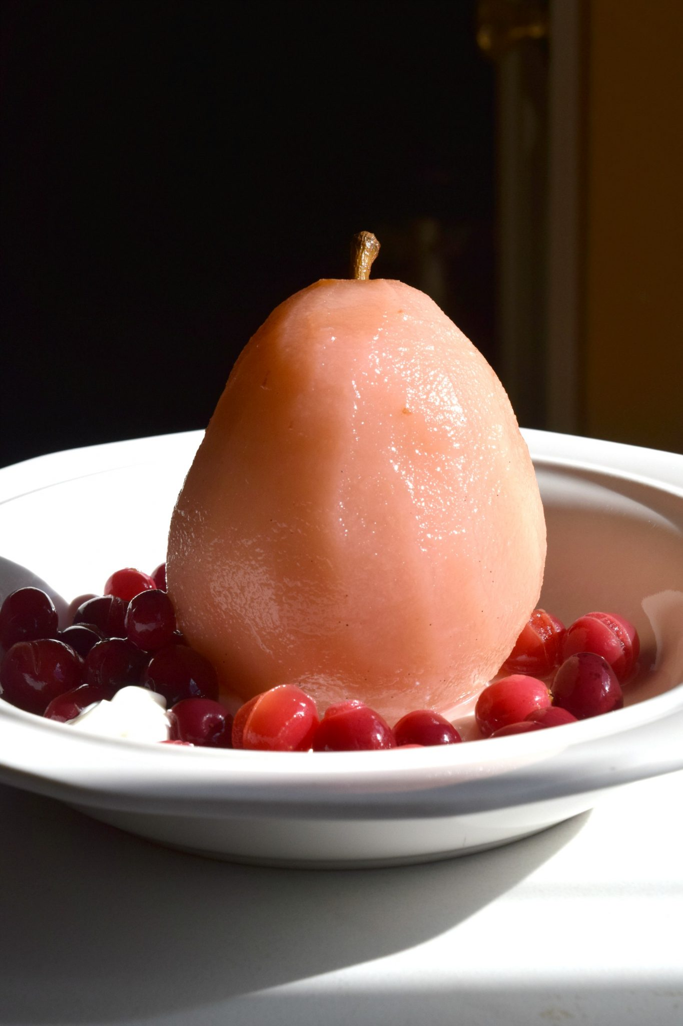 Pears Poached in Cranberries with Salted Sour Cream