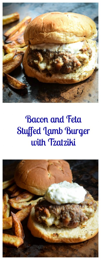 Bacon and Feta Stuffed Lamb Burger with Tzatziki