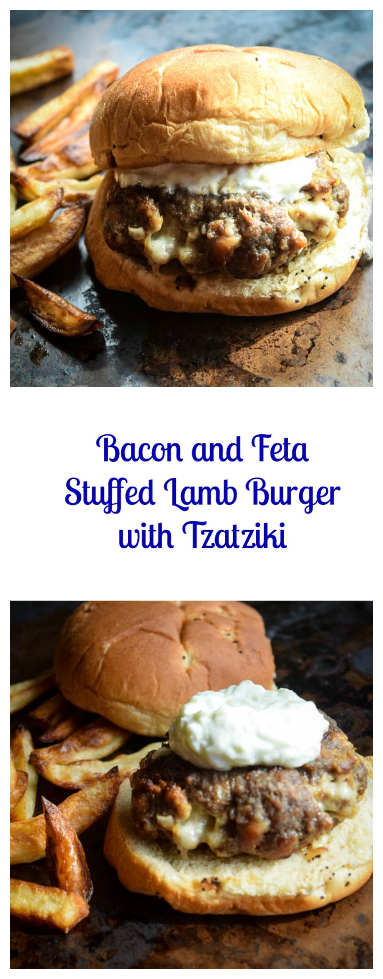 Bacon and Feta Stuffed Lamb Burgers with Tzatziki + Giveaway - Beer ...