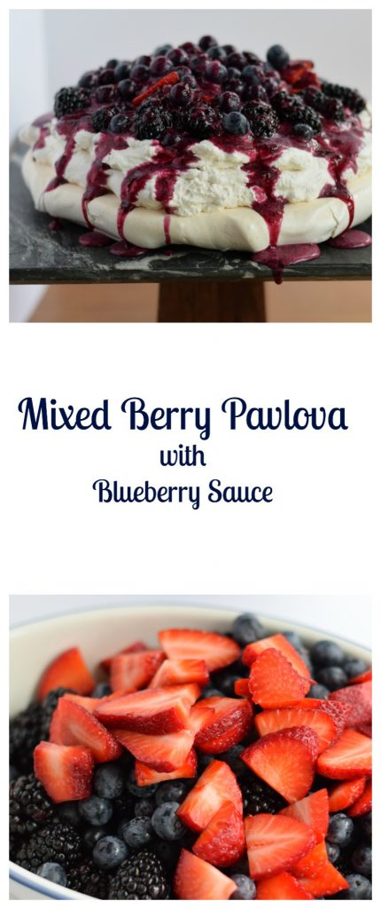 Mixed Berry Pavlova with Blueberry Sauce