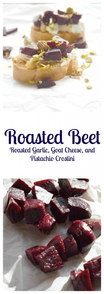 Roasted Beet, Roasted Garlic, Goat Cheese, and Pistachio Crostini