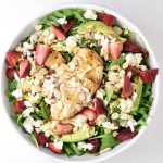 Strawberry, Goat Cheese, Avocado Arugula Salad with Beer Brined Chicken and Limoncello Poppyseed Dressing