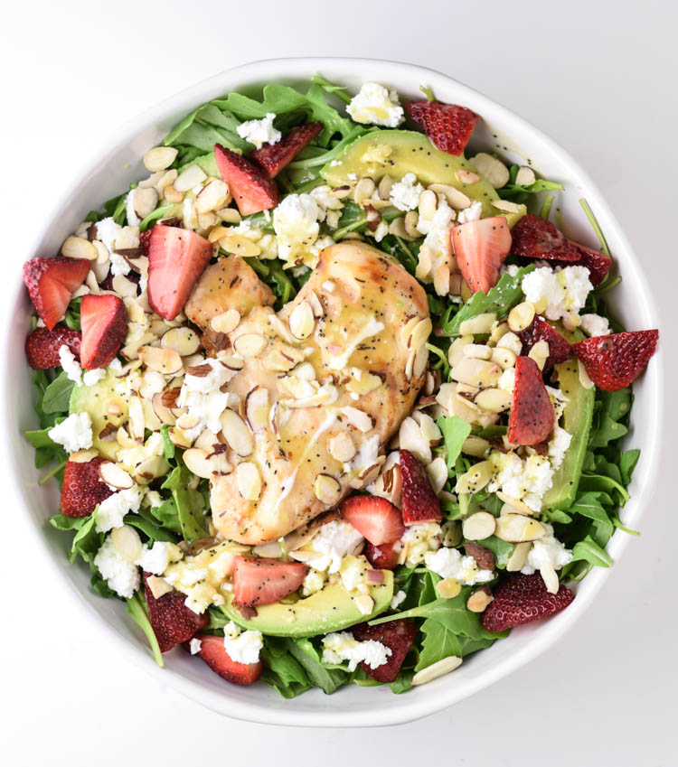 Strawberry, Goat Cheese, Avocado, Arugula Salad with Beer Brined Chicken and Limoncello Poppyseed Dressing