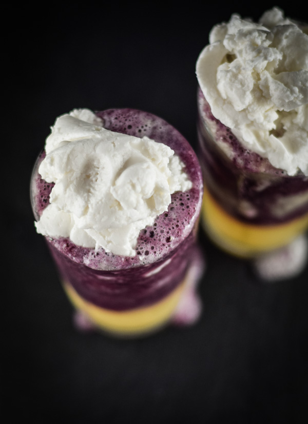Pineapple Blueberry Coconut Smoothies with Whipped Coconut Cream