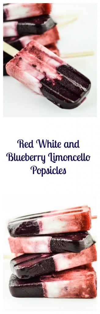 Red White and Blueberry Limoncello Popsicles