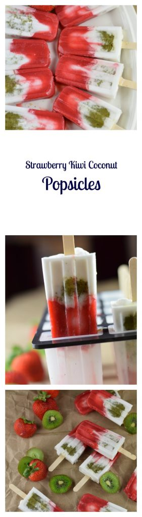Strawberry Kiwi Coconut Popsicles