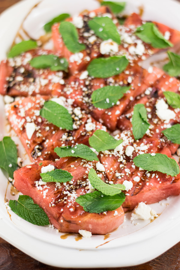 Easy Grilled Watermelon and Feta Salad with Mint and Balsamic Reduction