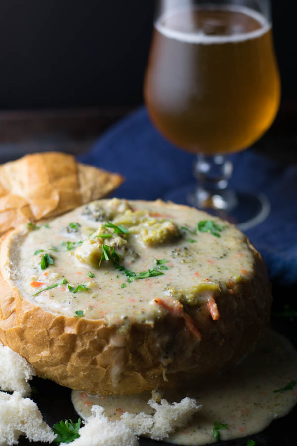 Beer Cheddar Broccoli Soup is my way of making a delicious classic soup with craft beer to welcome fall, cooler temperatures, and comfort food!