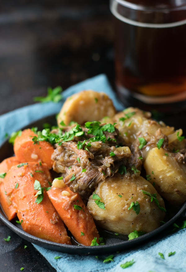 Brown Ale Beer-Braised Pot Roast is an update to a classic dish by beer-braising the roast for several hours and finishing the veggies for an amazing meal!