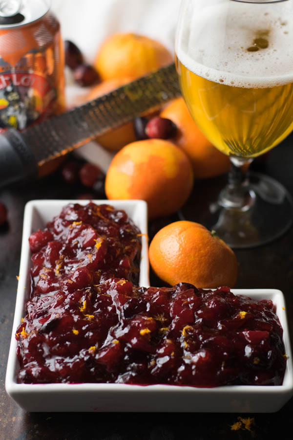 Mandarin IPA Cranberry Sauce is a great twist to a classic recipe with the surprise of some mandarin orange craft beer for a fun and delicious flavor