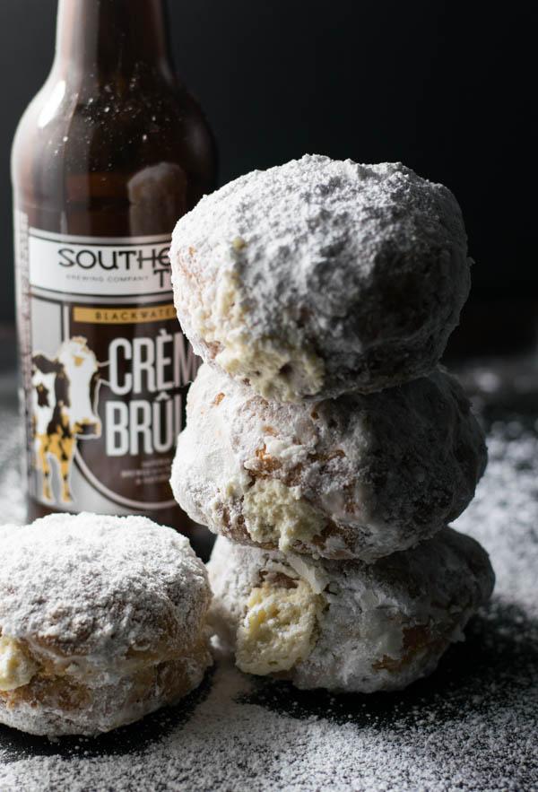 Creme Brulee Stout Mascarpone Stuffed Donuts