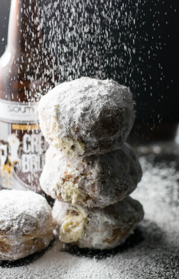 Creme Brulee Stout Mascarpone Stuffed Donuts are perfect for the beer lover with a custard flavored stout beer in the donut and the filling.