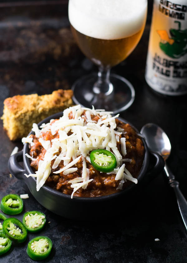 Jalapeno Pale Ale Chili is an adult version of a delicious winter food perfect for sharing with friends while watching some football games.