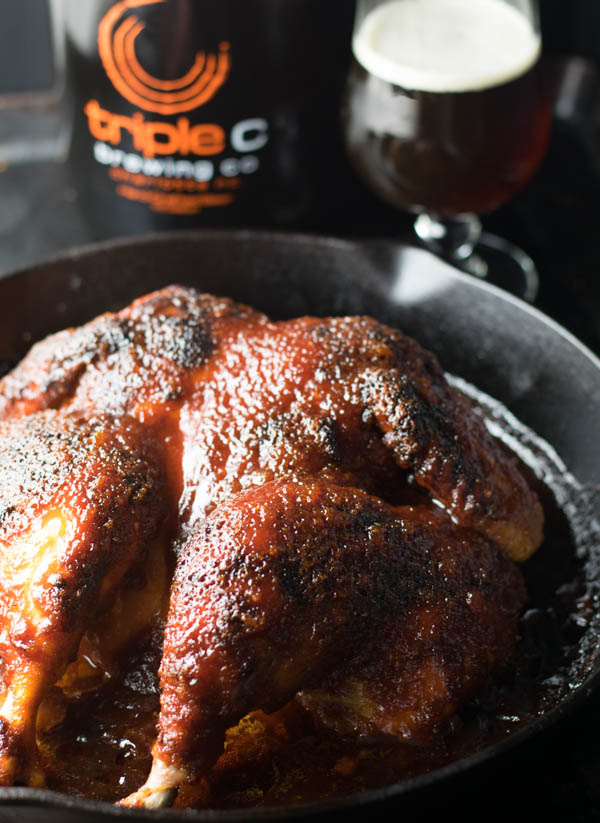 Skillet Roasted Spatchcock Chicken with Smoked Amber Ale BBQ Sauce is an easy way to roast a chicken with a homemade craft beer smoked amber ale bbq sauce.