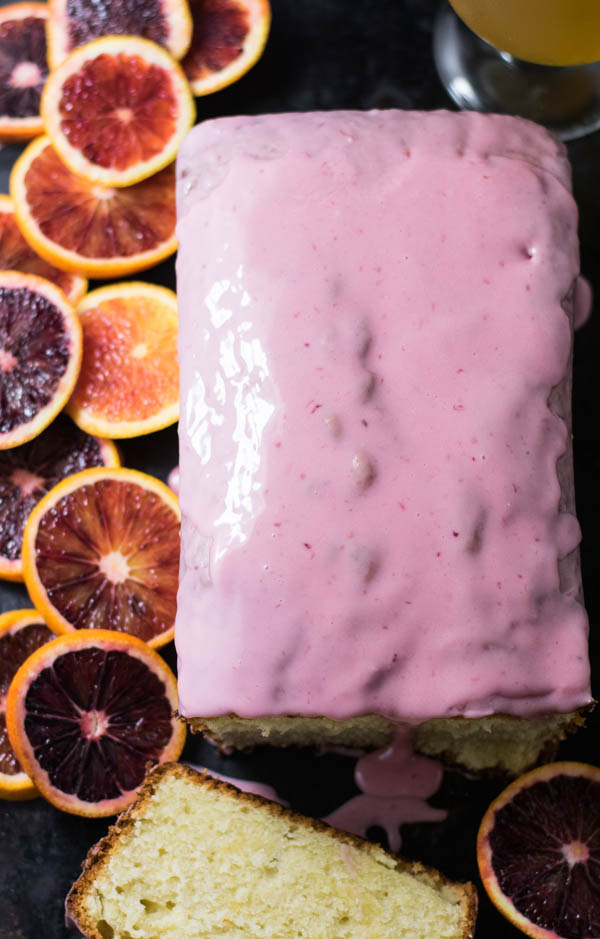 Blood Orange Wheat Ale Pound Cake with Blood Orange Glaze