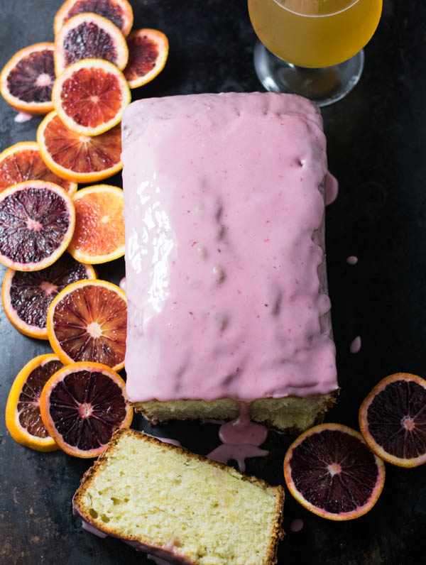 Blood Orange Wheat Ale Pound Cake with Blood Orange Glaze is so pretty and pink making it perfect for a spring holiday or Easter gathering