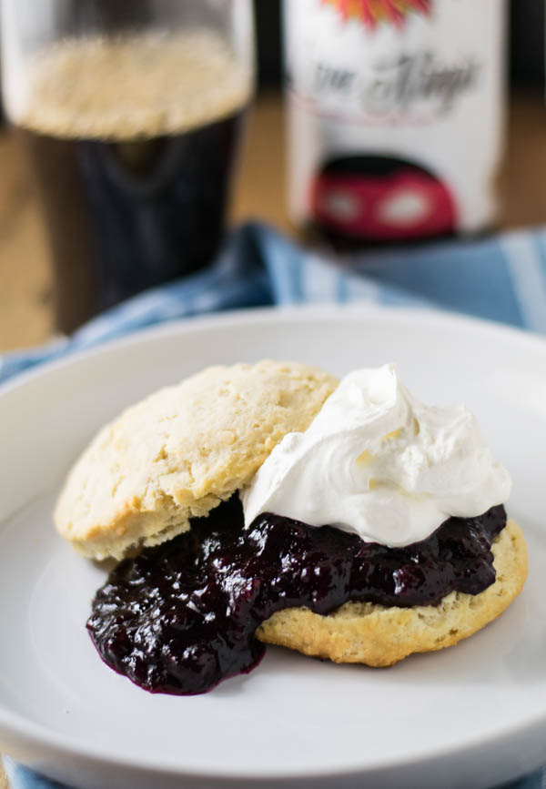 Peach Beer Blueberry Shortcakes are made with peach lambic beer and served on Raspberry Chocolate Stout Biscuits for a tart and sweet treat