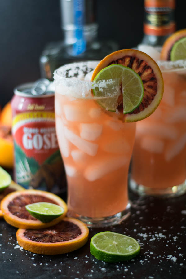 Blood Orange Gose Margarita is a colorful and festive cocktail using both beer and tequila for a refreshing beverage perfect to celebrate Cinco de Mayo