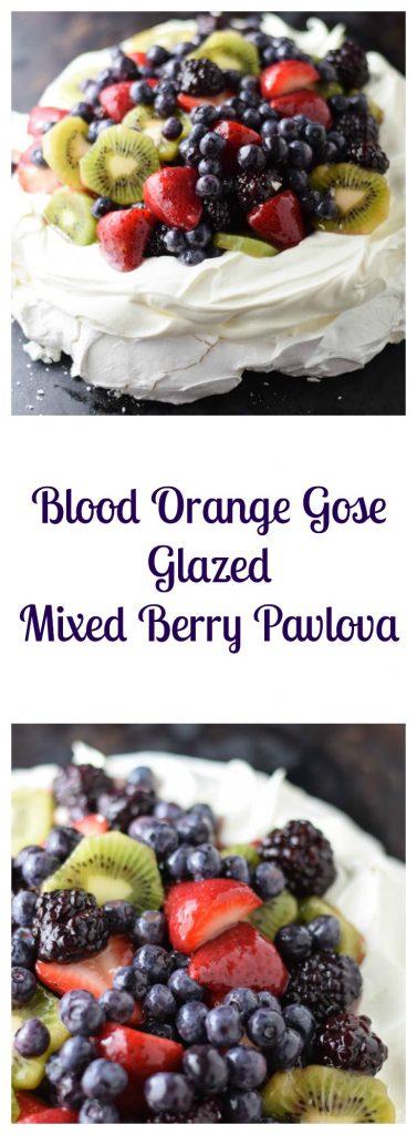 Blood Orange Gose Glazed Mixed Berry Pavlova