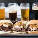 Slow Cooker Beer Braised Short Rib Sliders with Beer Caramelized Onion Horseradish Sauce