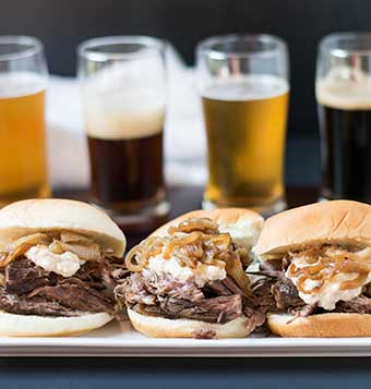Slow Cooker Pumpkin Ale Braised Short Ribs Sliders with Beer Caramelized Onion Horseradish Sauce