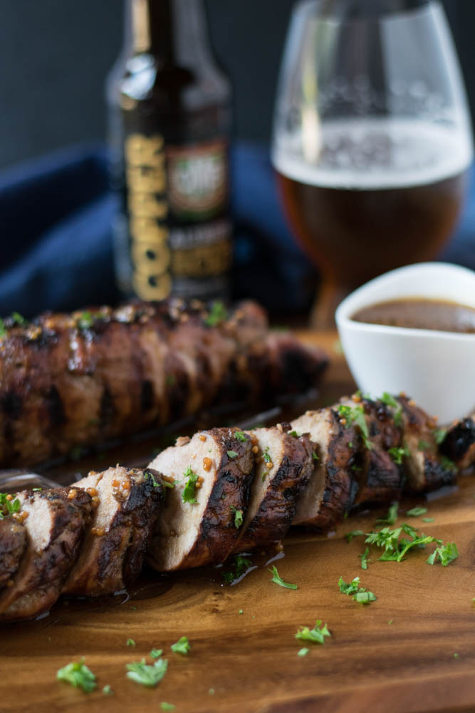 Beer Mustard Crusted Pork Loin is just in time for Oktoberfest with beer mustard and brown sugar marinated and coated on pork loin grilled to perfection.