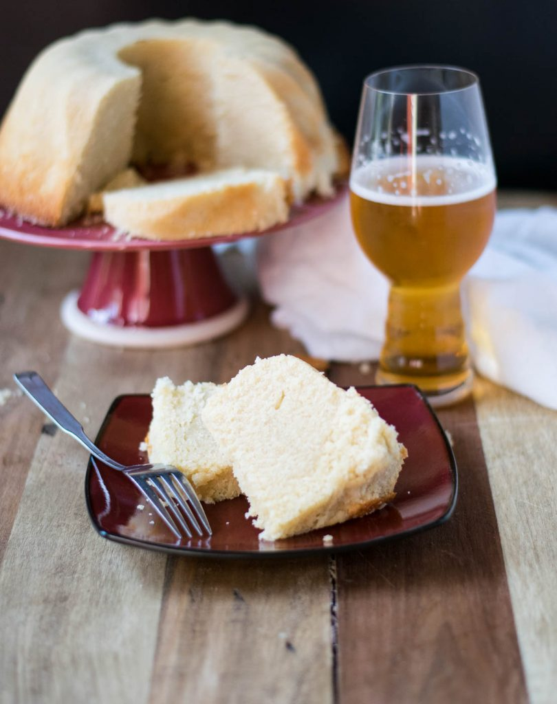 Coffee Vanilla Beer Pound Cake is a very vanilla pound cake with hints of coffee flavor from the addition of a coffee vanilla blonde ale