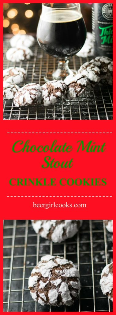 Chocolate Mint Crinkle Cookies are a delicious holiday classic. These Chocolate Mint Stout Crinkle Cookies have the additional layer of mint flavor that comes from a chocolate mint stout for a tasty chocolate mint brownie cookie perfect for the holiday cookie tray! Have you got your holiday bake on? I got my hands on…