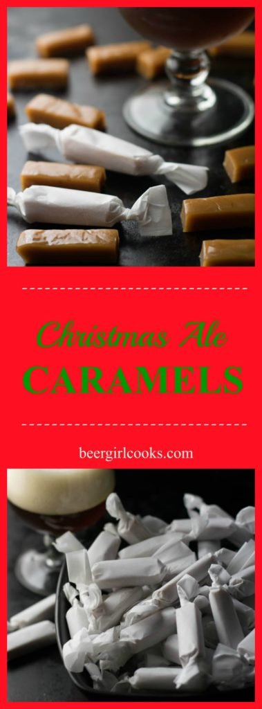 Christmas Ale Beer Caramels are a soft, chewy treat made with Christmas Ale with hints of cinnamon and vanilla perfect for holidays and holiday gifts!