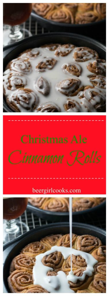 Christmas Ale Beer Cinnamon Rolls are a fun treat made from Christmas Ale full of cinnamon, nutmeg, cloves, and honey and a very vanilla bourbon finish .
