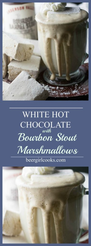 White Hot Chocolate with Bourbon Barrel Stout Marshmallows is an adult version of a classic winter warmer made with white chocolate and beer marshmallows.
