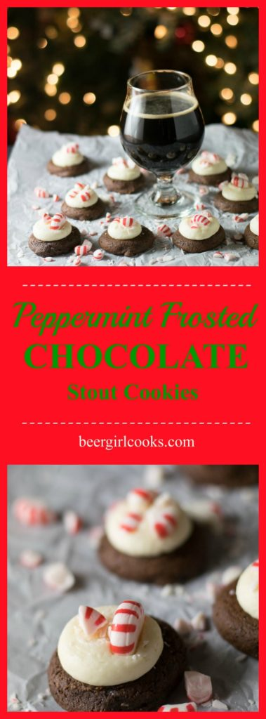 Peppermint Frosted Chocolate Stout Cookies are the most delicious holiday cookie! A softbrownie cookie made with chocolate stout topped with decadent cream cheese frosting and finished with crushed peppermint for the win!