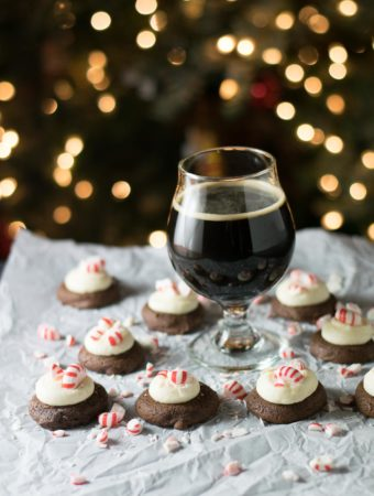 Peppermint Frosted Chocolate Stout Cookies are the most delicious holiday cookie!  A  soft brownie cookie made with chocolate stout topped with decadent cream cheese frosting and finished with crushed peppermint for the win!