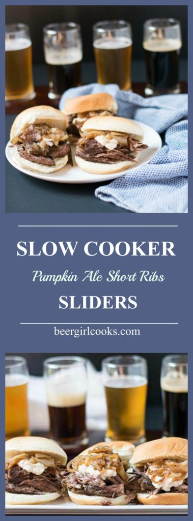 Slow Cooker Pumpkin Ale Braised Short Ribs Sliders topped with Beer Caramelized Onion Horseradish Sauce are perfect for a party or watching football!