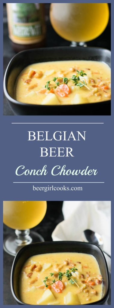 Belgian Beer Conch Chowder is an easy soup with fresh conch and vegetables, a floral Belgian beer, heavy cream, and slowly simmered to a creamy perfection.