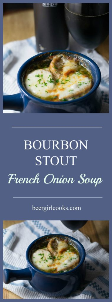 Bourbon Stout French Onion Soup is made Bourbon Barrel Aged Russian Imperial Stout.  It's rich and smooth with french baguette croutons and topped with melted gruyere cheese.